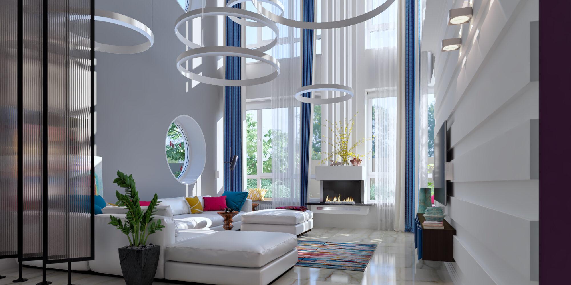 Интерьер гостиной со вторым светом и круглыми окнами.