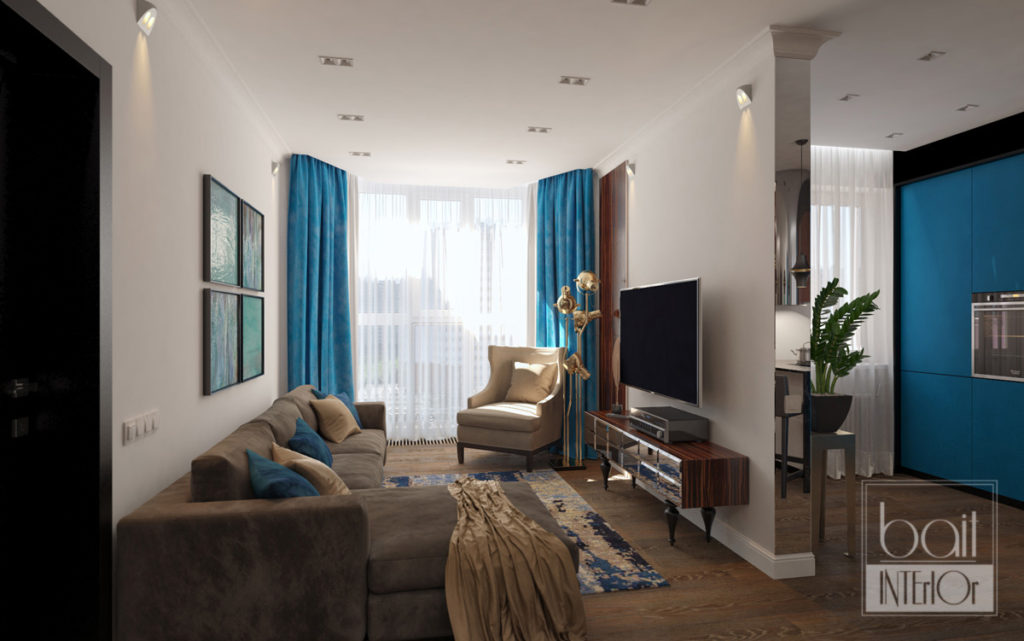 дизайн интерьера гостиной с синим акцентом