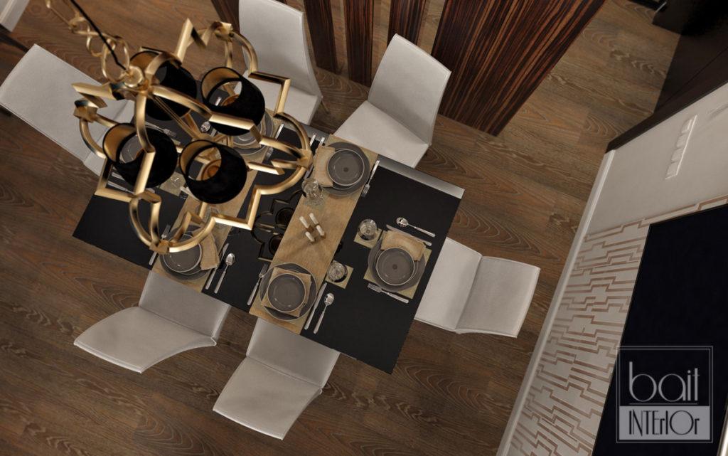 столовая с черным столом