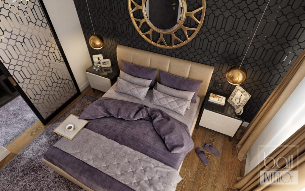 дизайн интерьера спальни с черными обоями