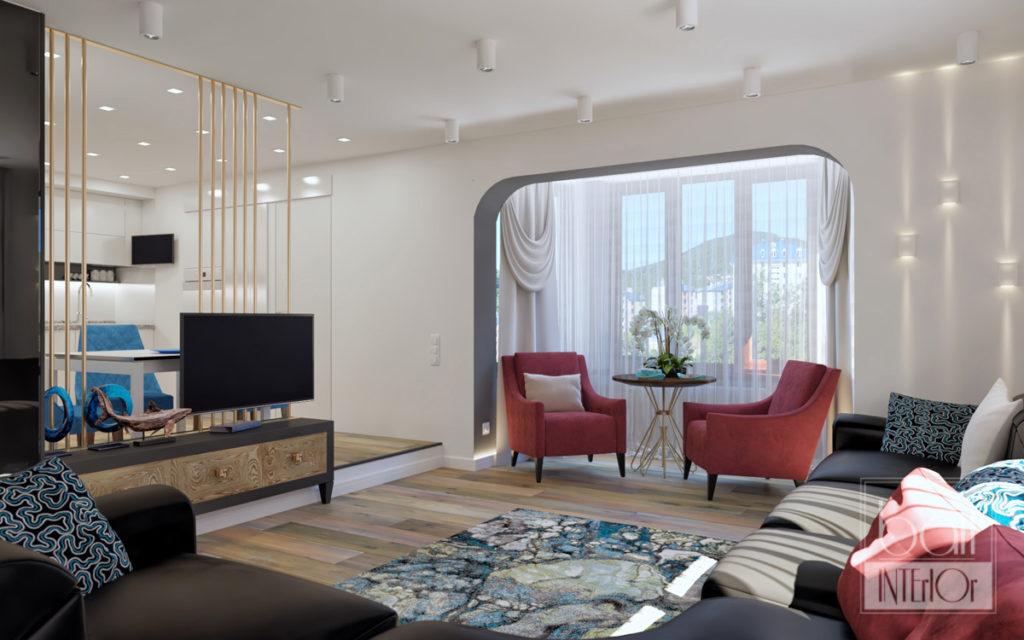 проект интерьера современной двухуровневой квартиры