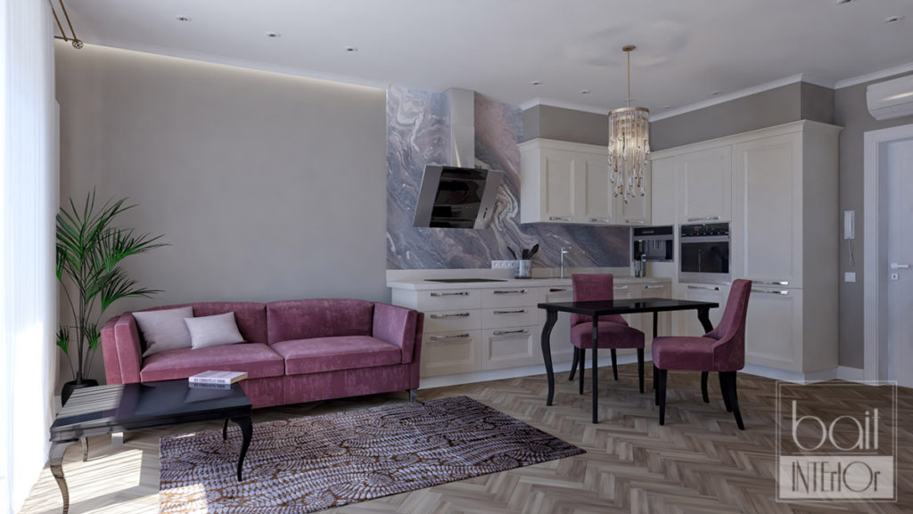 дизайн интерьера квартиры - студии с яркими акцентами