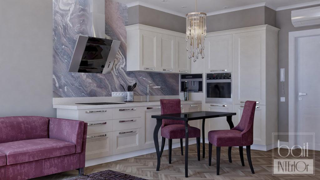 дизайн интерьера кухни для квартиры - студии