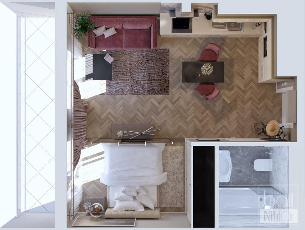 планировка квартиры - студии