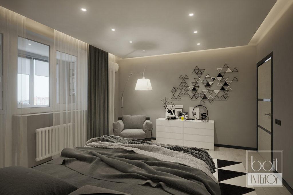 дизайн интерьера спальни в стиле минимализм с черными элементами