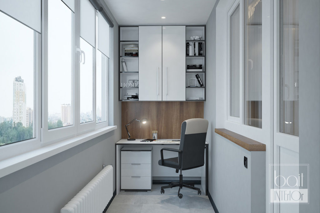 дизайн рабочей зоны на балконе