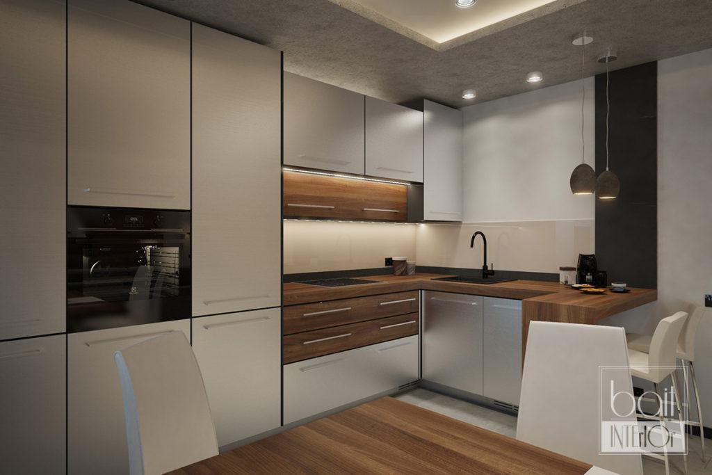 дизайн интерьера кухни с металлизированными фасадами