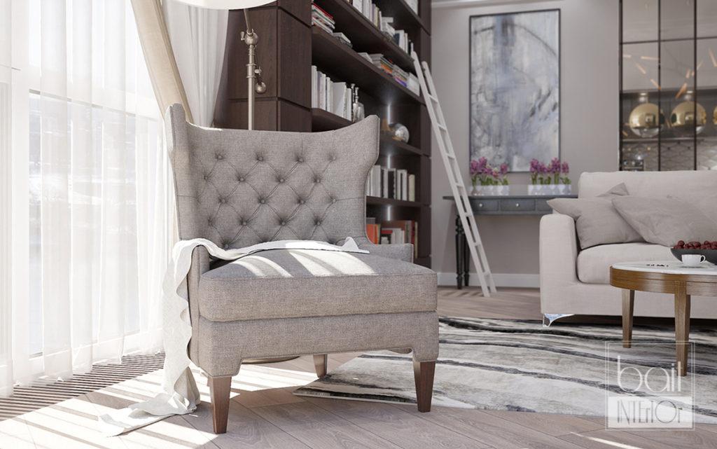 дизайн интерьера бежевой гостиной