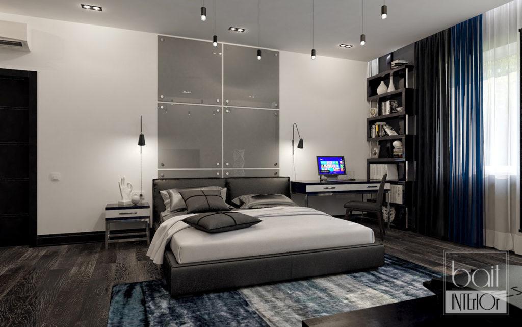 дизайн интерьера черно- белой спальни