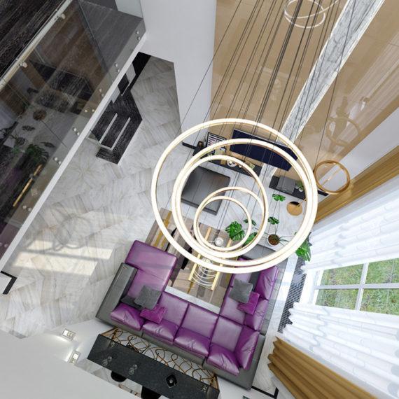 Интерьер дома в стиле минимализм со вторым светом