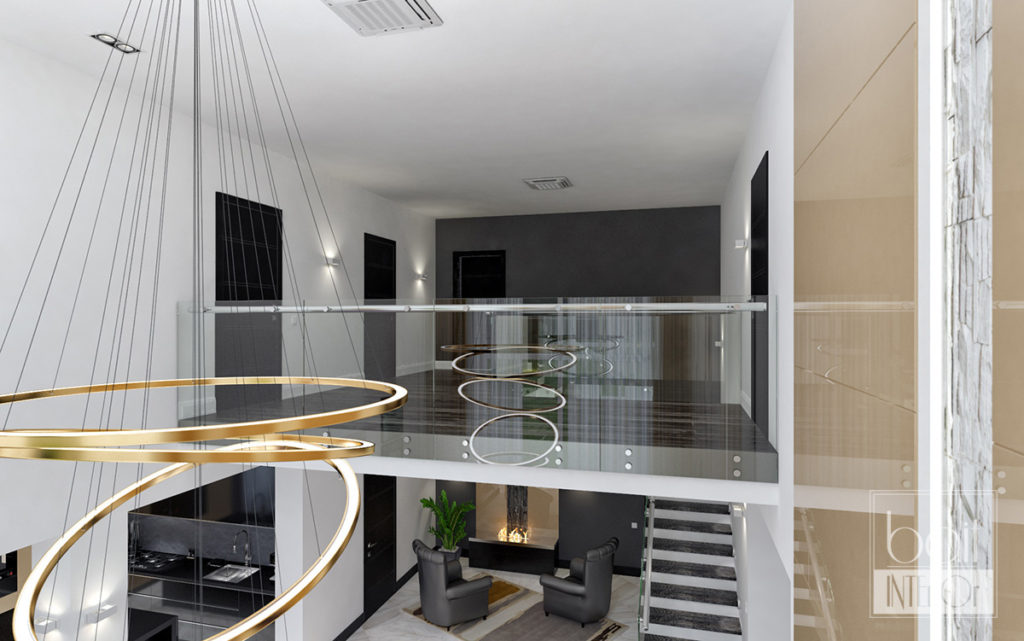 дизайн интерьера гостиной со вторым светом