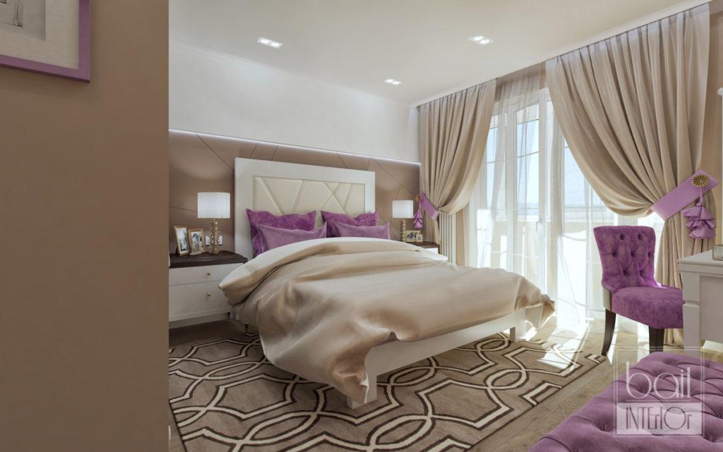 дизайн интерьера спальни с французскими окнами