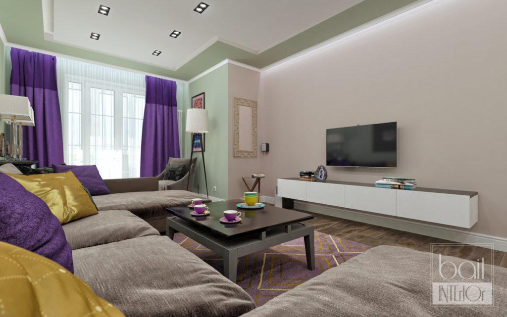 дизайн интерьера гостиной с розовой стеной