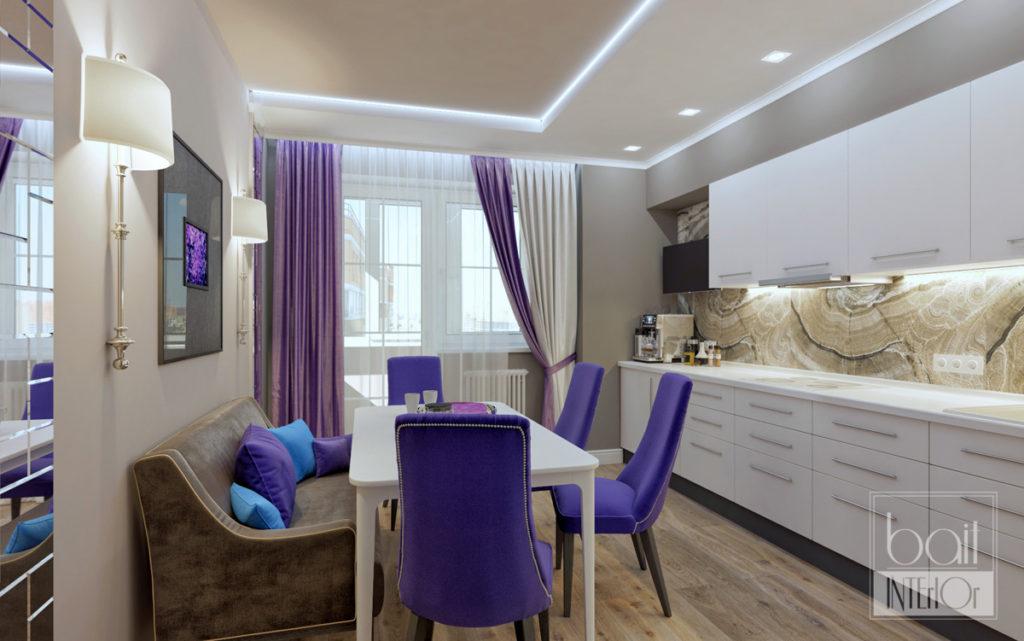 дизайн интерьера белой кухни с фиолетовыми акцентами