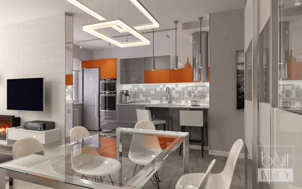 дизайн интерьера кухни с оранжевыми акцентами