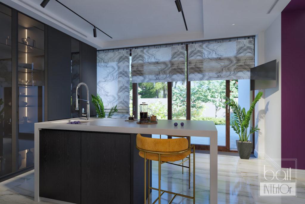 интерьер черной минималистичной кухни