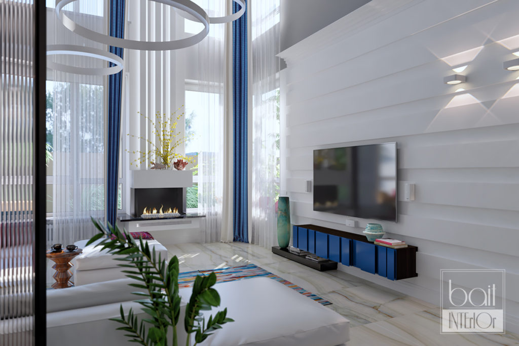 зона камина и телевизора в гостиной