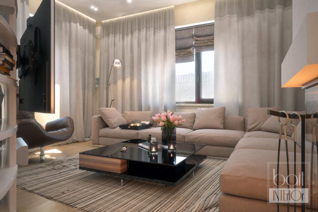 Дизайн гостиной с элементами лофт