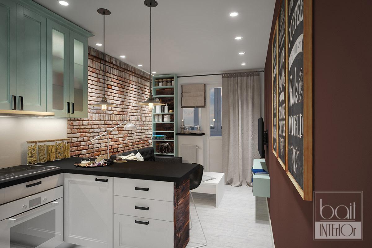 Интерьер кухни-столовой в стиле лофт