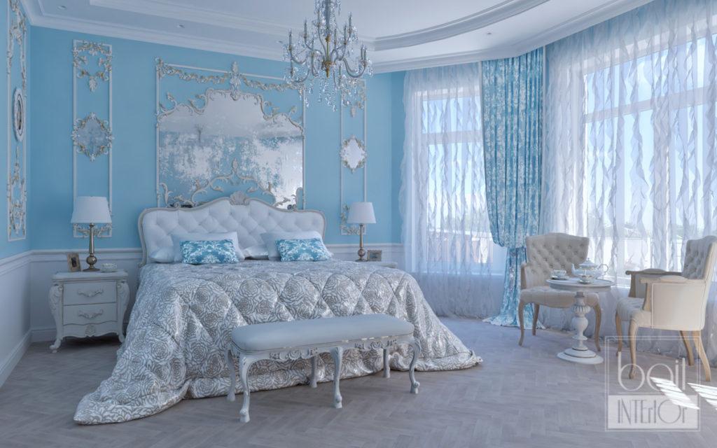 дизайн интерьера синей спальни в классическом стиле