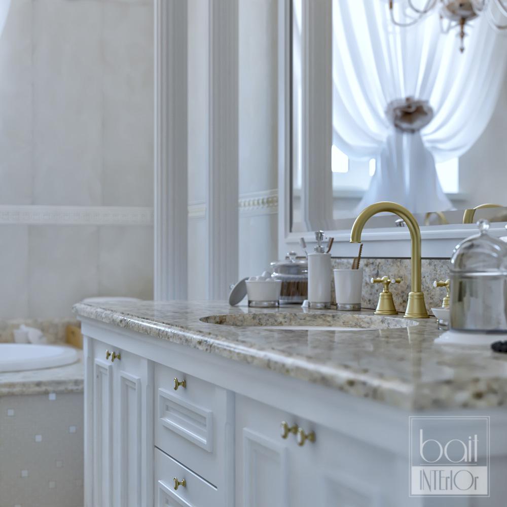 дизайн интерьера классической ванной с колоннами