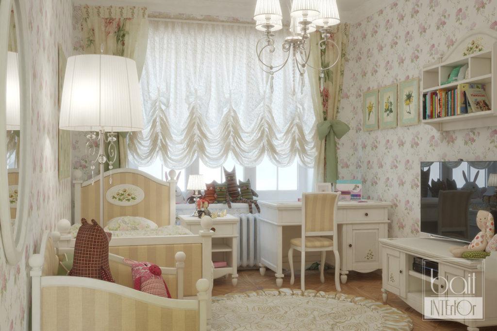 дизайн интерьера детской в стиле прованс