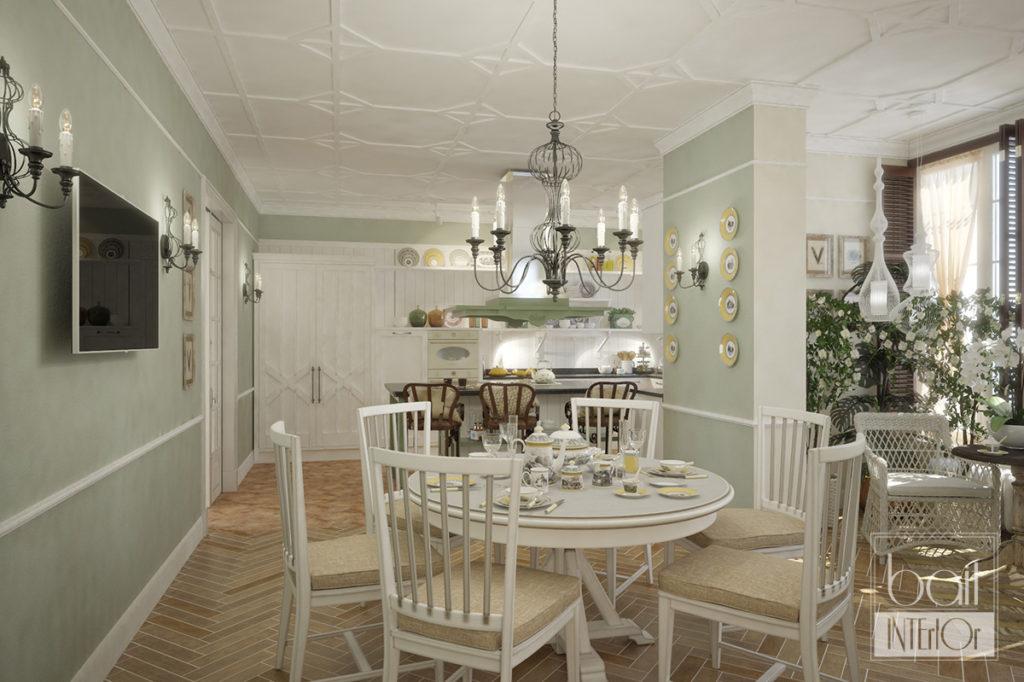 дизайн интерьера столовой в стиле прованс