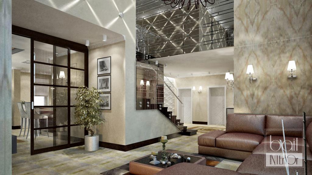 интерьер лестницы со стеклянными перилами