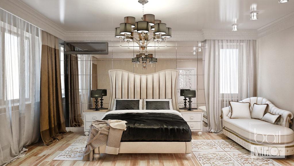 дизайн интерьера спальни с зеркальной стеной
