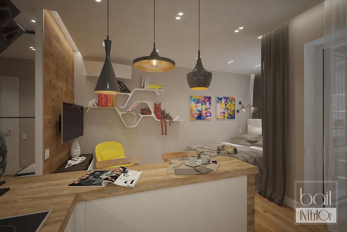 Интерьер квартиры-студии для молодой девушки