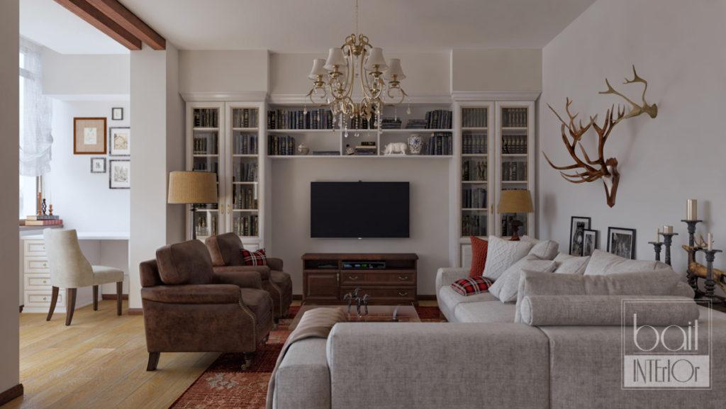 дизайн интерьера гостиной в стиле кантри