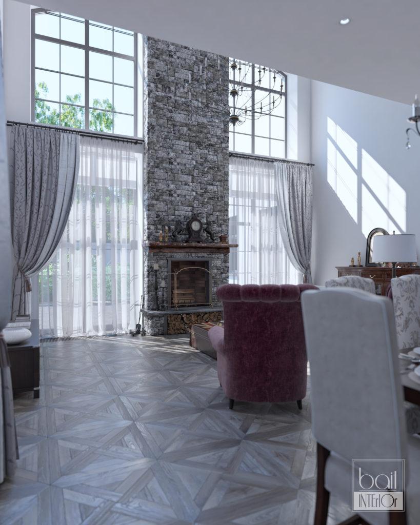 Двухуровневая гостиная с камином