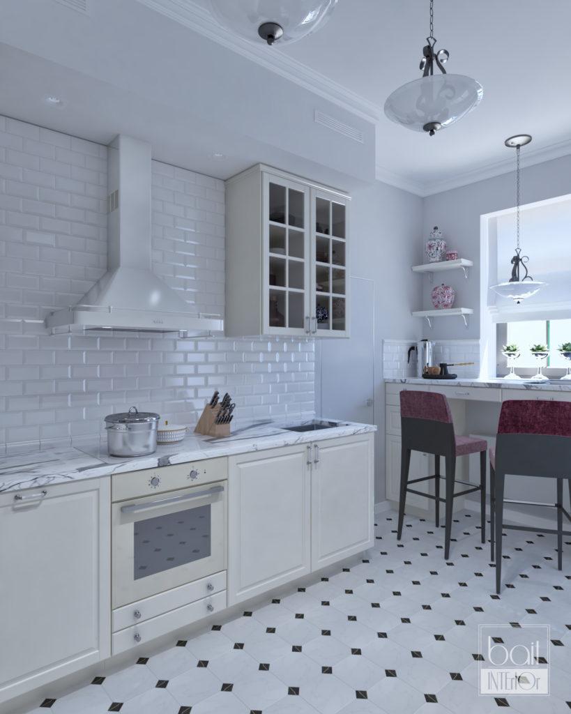 небольшая светлая кухня