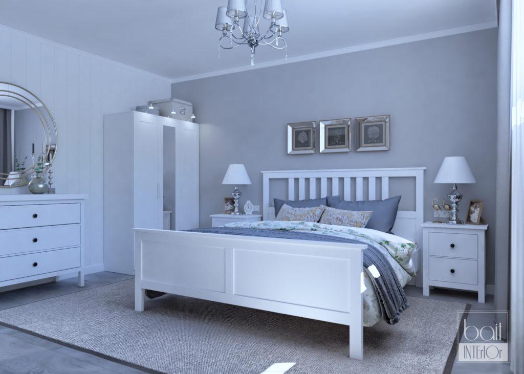 спальня в серой гамме
