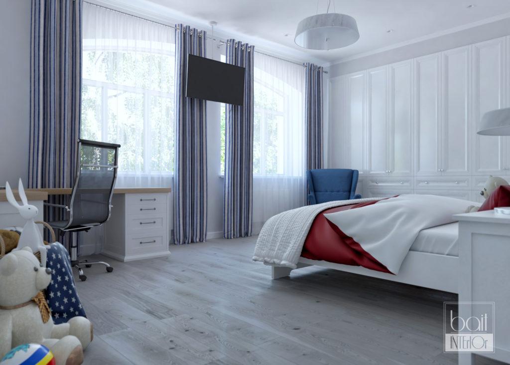 спальня с красным акцентом