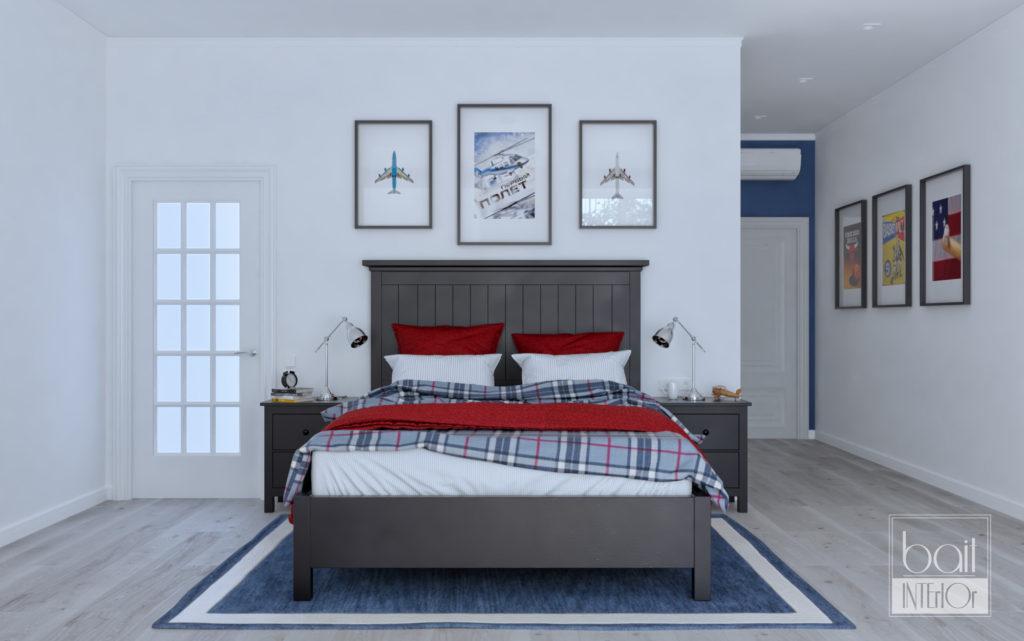 Спальня для парня в синей гамме