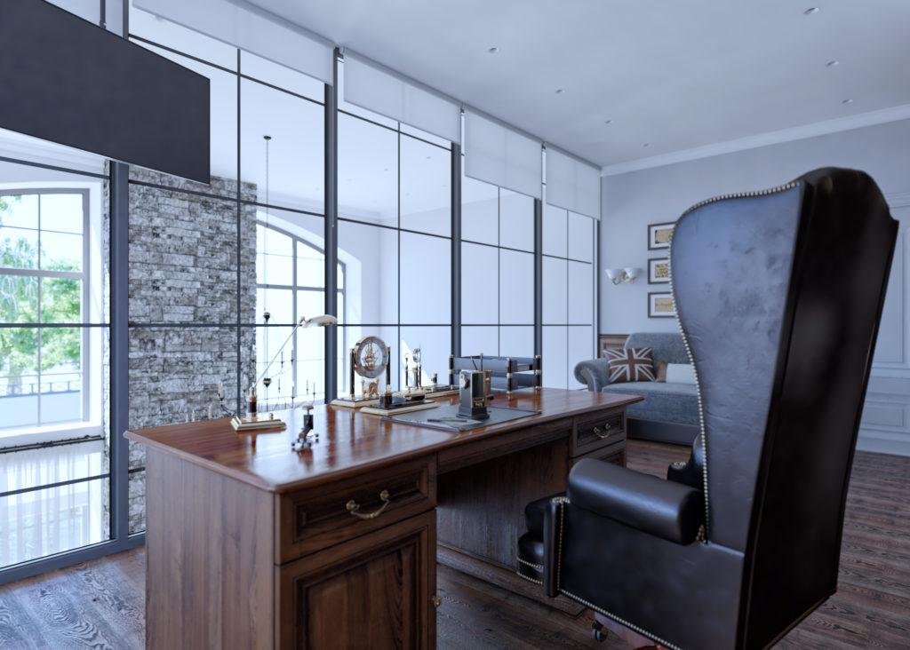 Кабинет с видом в гостиную