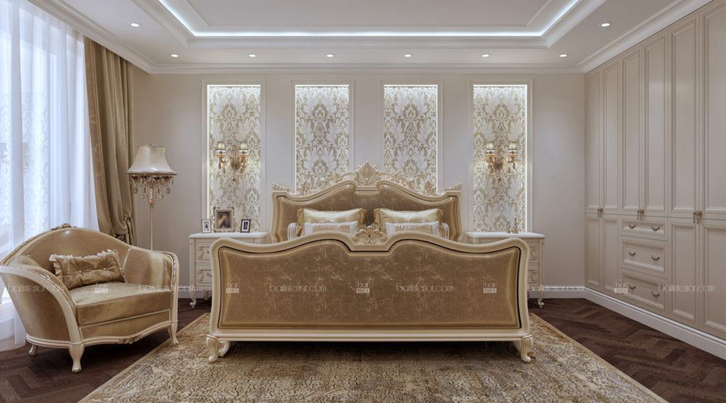 интерьер классической спальни в бежевой гамме