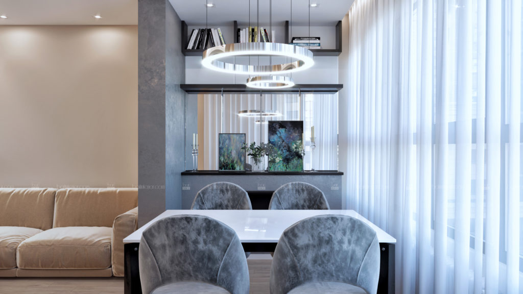 интерьер гостиной- столовой