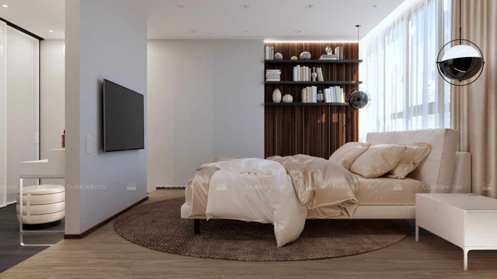 дизайн интерьера спальни с гардеробом и необычной планировкой