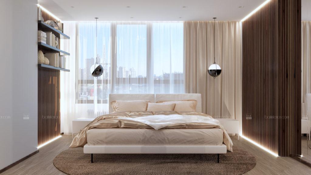 дизайн интерьера спальни с гардеробом