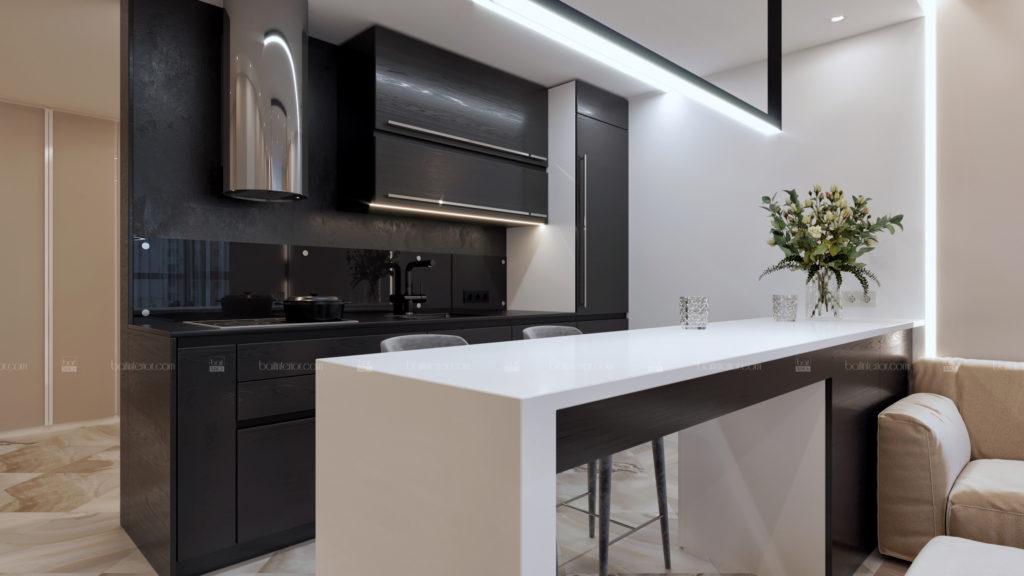 дизайн интерьера черной кухни с барной стойкой