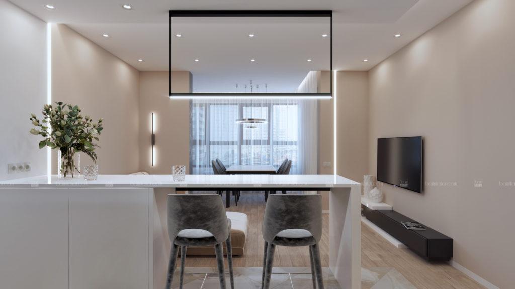 дизайн интерьера гостиной с барной стойкой