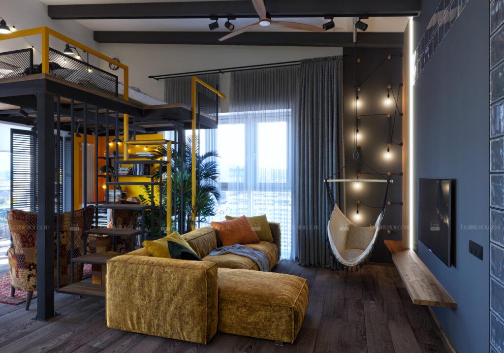 дизайн гостиной в стиле лофт со вторым ярусом
