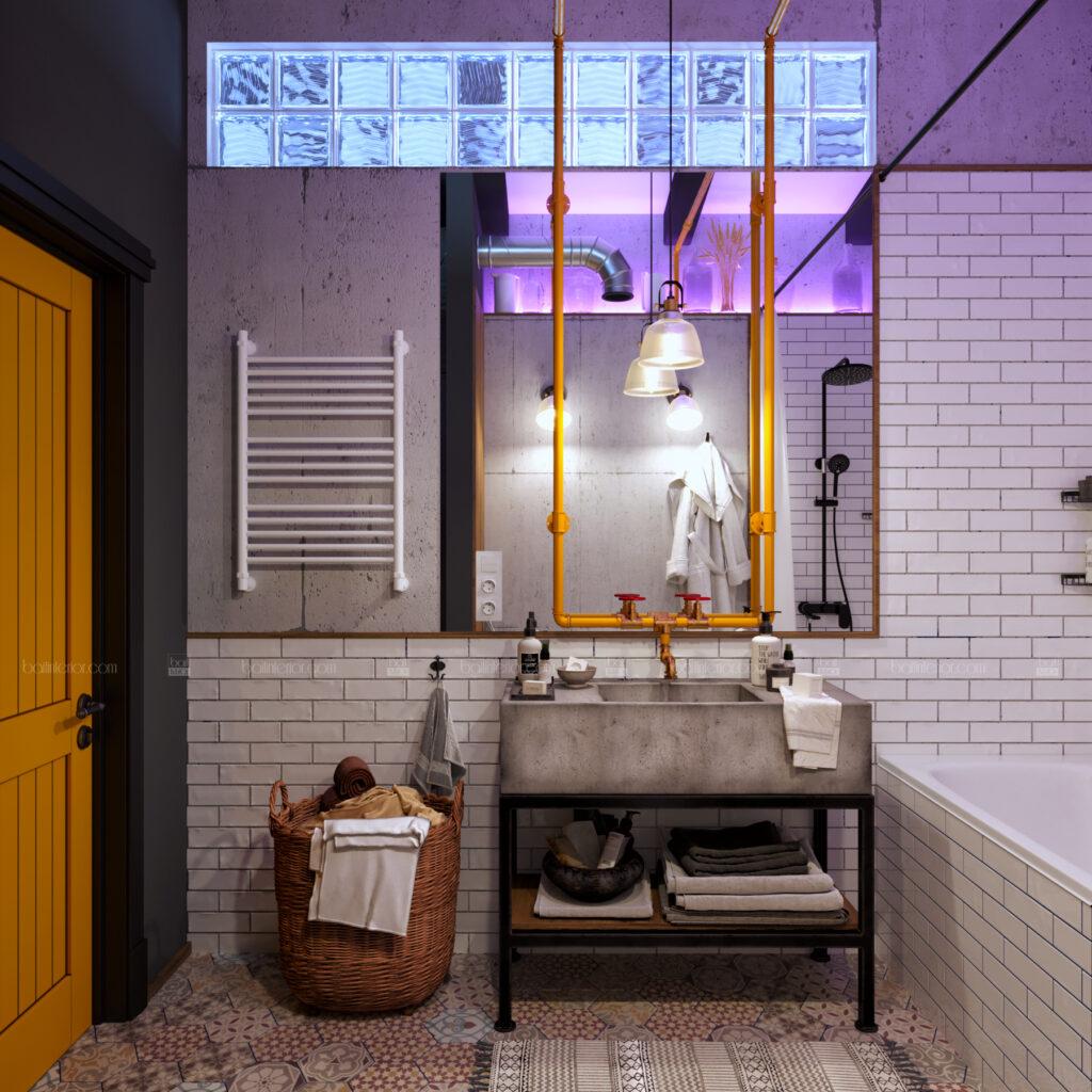 ванная с необычным желтым краном