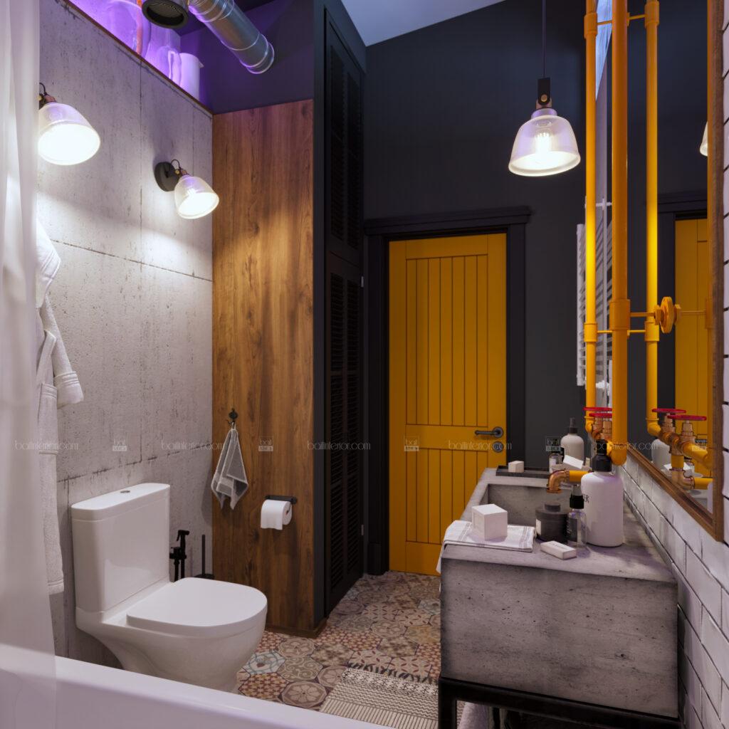 дизайн интерьера ванной в стиле лофт