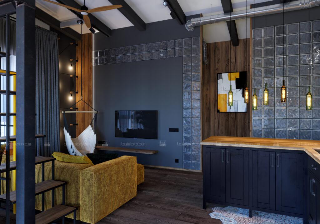 интерьер гостиной со вторым ярусом в стиле лофт