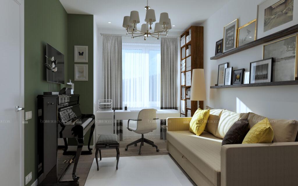 интерьер спальни с зелеными акцентами