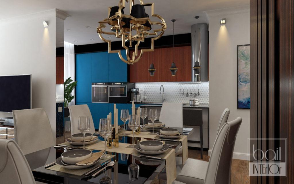 дизайн интерьера синей кухни