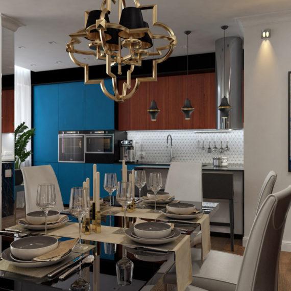 Проект двухкомнатной квартиры с элементами Арт-деко